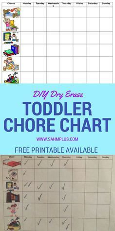 Toddler chores are great for eager helpers! Make your own dry erase toddler chore chart or get a free chore chart printable. Make your own chore chart. Toddler Chores, Toddler Preschool, Toddler Crafts, Toddler Activities, Toddler Schedule, Toddler Play, Toddler Learning, Baby Play, Learning Activities