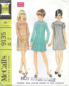 McCalls 9135-1960 Mod Baby Doll Dress with Gathered Yoke Vintage Sewing Pattern, by GrandmaMadeWithLove