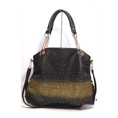"Black/Gold Embellished Shoulder Crossbody Bag  Black faux leather w/ gold embellishments in an ombre looking pattern  Gold chain/black faux leather handles (8"" drop)  Zipper top & back pocket  Multicolor interior w/ zip pocket (1) & slip pockets (2)  18""L x 13""H x 5.5""  Max crossbody strap: 52"" (detachable)  Carried a few times. Excellent condition. Interior is clean! A few tiny embellishments fell off (nothing noticeable). You will get a ton of compliments!!  ❗️ No trades ✔️ Offers…"