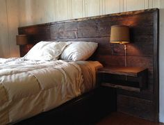 Bedroom:With Reclaimed Wood Headboard Wall Lamp Reclaimed Wood Headboard