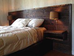 Bedroom With Reclaimed Wood Headboard Wall Lamp