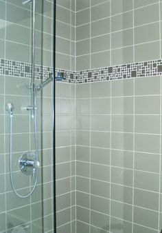 Bloc series Flint with Flow Maize border   #ceramic wall tile and #glass border