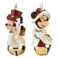 Victorian Jingle Bell Minnie and Mickey Mouse Ornament Set -- 2-Pc.