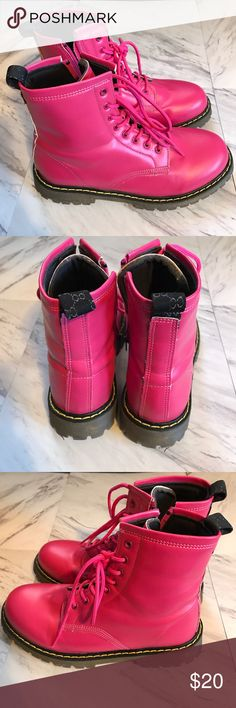 PRE LOVED PINK LACE UP BOOTS PRE LOVED PINK LACE UP BOOTS Shoes Combat & Moto Boots