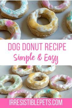 This dog donut recipe is easy to make and chances are you already have most of the ingredients! Your dog will think this donut is irresistible! Dog Cake Recipes, Easy Dog Treat Recipes, Dog Biscuit Recipes, Donut Recipes, Dog Food Recipes, Easy Dog Cake Recipe, Frozen Dog Treats, Diy Dog Treats, Healthy Dog Treats