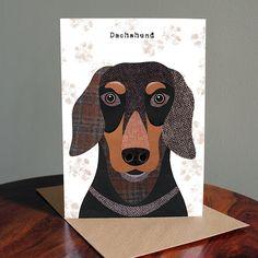 Dachshund Greetings Card by SimonHartArtist on Etsy