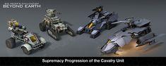 Civilization: Beyond Earth Supremacy Progression of the Calvary Unit Civilization Beyond Earth, Military Units, Best Graphics, Futuristic, The Unit, War, Armors, Cyber, Fiction