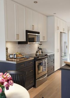 Kitchen, Navy Lowers, White Uppers, Brass Pulls   Two Tone Kitchen, Thatu0027s  An Idea.