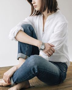 Eileen Fisher linen and denim