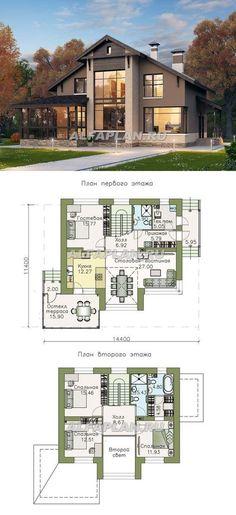 """Regatta"" - a comfortable house with a gable roof . ""Regatta"" – ein komfortables Haus mit Satteldach … – ""Regatta"" – a comfortable house with a gable roof … – - Sims House Plans, Modern House Plans, House Floor Plans, Sims House Design, Modern House Design, Casas Country, Loft Flooring, Casas The Sims 4, Home Design Plans"