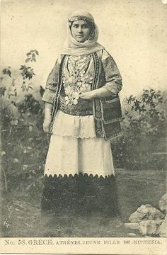 Greek PostCard Of a Young Woman from Kifisia. Greek Dress, Greek Costumes, Antique Art, Historical Photos, Traditional Dresses, Young Women, Folk Art, Greece, Jewellery