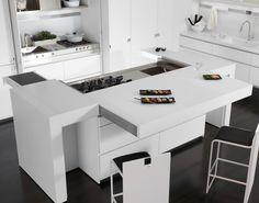 Lacquered Corian® kitchen with island ESSENTIAL QUADRA Essential Collection by TONCELLI CUCINE | design Tommaso Toncelli