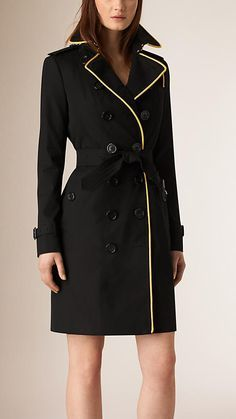 Image result for burberry trench black with gold piping