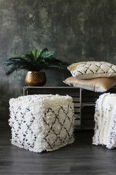 Handwoven Moroccan Sequined Pouffe / Foot Stool - Stools & Bar Stools…