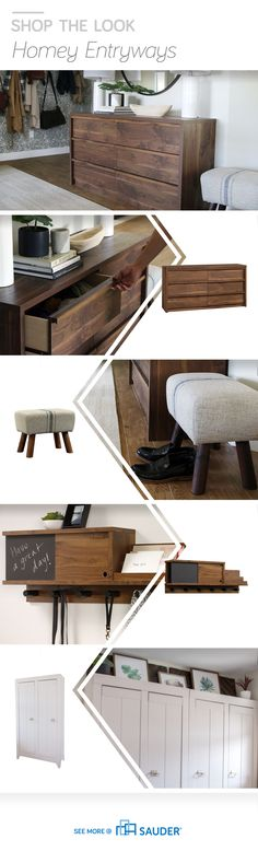 Create a functional and fabulous entryway! Unfinished Wood Furniture, Real Wood Furniture, Painted Bedroom Furniture, Bedroom Decor, Furniture Projects, Wood Projects, Sauder Woodworking, Space Saving Furniture, Bedroom Flooring