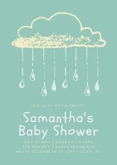 Green and Yellow Rain Clouds Vintage Baby Shower Poster