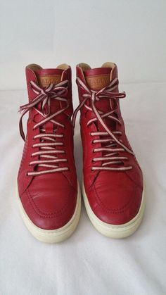 Men's Bally's Red Leather Hightop Sneakers size 8.5 D #Bally #FashionSneakers