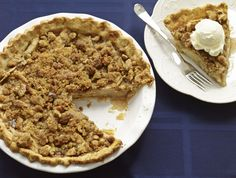 The prefect dessert recipe, crumb-topped, warm Dutch Apple Pie topped off with a scoop of vanilla ice cream.