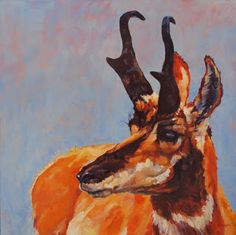 "Daily Painters Abstract Gallery: Colorful Contemporary Wildlife Pronghorn ""Outlook"" by Contemporary Animal Artist Patricia A. Griffin"