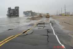 House in Nights in Rodanthe-This photo was taken after a bad storm when the water came up so far that the road buckled:It was built in the with piling driven down 14 feet and set in concrete. At the time, there was 400 feet of beach in front of the house. Tornados, Tsunami, Places To Travel, Places To Go, Bad Storms, Outer Banks Nc, Haunting Photos, North Carolina Homes, Carolina Beach