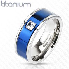 8mm Square CZ Centered Two Tone Blue IP Band Ring Solid Titanium