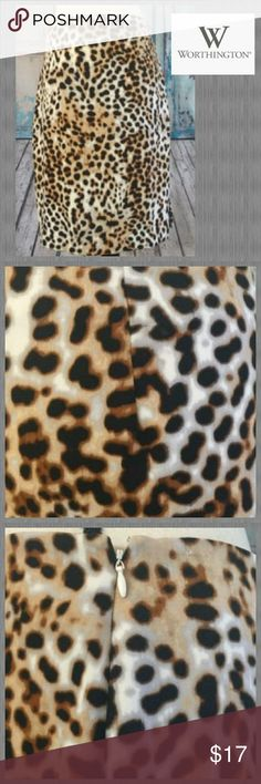 """❤WORTHINGTON~sz 10P❤ Gently preloved Worthington skirt, size 10P. Take a walk on the wild side. Fashioned with a bold leopard print, this skirt strikes the perfect balance of fun, feminine, and fierce. Pair it with your favorite boots and get ready to step out in style. Side zippered closure & side split. Measured laying flat: Waist 16.5"""" Hips 20"""" & length 22"""". Thanks so much for looking. Be sure to check out my closet for other great deals on name brands and bundle to save even more. ;)…"""