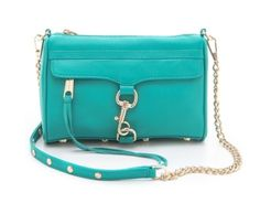 REBECCA MINKOFF Mini MAC Leather Crossbody in SEA GREEN LEATHER, Studs, Gold HW! #RebeccaMinkoff #MessengerCrossBody