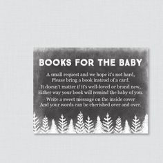 Winter Baby Shower Bring a Book Instead of a Card Invitation Insert - Instant…