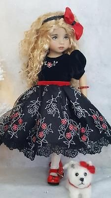 """DRESS,,DOG & SHOES SET MADE FOR EFFNER LITTLE DARLING 13"""",MY MEADOW DOLLS"""