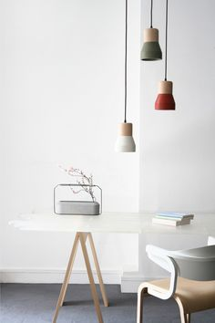 Cement Wood pendant lamp
