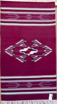 36x60 Chimayo blanket by Rudy Lee Valdez, handwoven wool using commercially dyed yarns