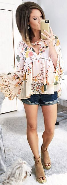 floral top, cutoffs and wedges <3 perfect little summer outfit