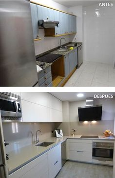 Small Kitchen Ideas: DIY Tiny Kitchen Remodel & Apartment Kitchen Redesigns Before and After Pictures. Great ideas for a tiny kitchen makeover on a budget! Small Kitchen Diy, Small Kitchen Ideas On A Budget, Small Kitchen Cabinets, Narrow Kitchen, Functional Kitchen, Kitchen Cupboard, Dark Cabinets, Open Kitchen, Kitchen Ideas Philippines