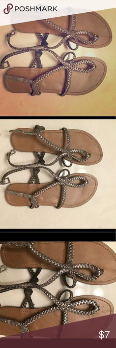 Silver shiny strapped Sandals women's size 10 Shiny silver sandals only worn a few times very comfortable fit, women's size 10 great for spring and summer Shoes Sandals