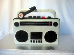 Cake Fiction: Boombox birthday cake with Monster Headphones