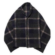 Engineered Garments Button Shawl - Wool Knit Plaid