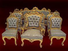 Salotto dorato.  Stupendo salotto in legno intagliato e dorato; composto da un divano, due poltrone e sei sedie, tutto con schienale e seduta imbottiti. www.arredomus.com