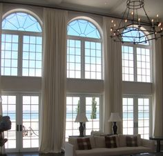 Extra Long Curtains Panels for High Windows/ Loft DraperyTreatment/Choice of Linen Fabric - per panel Curtains For Arched Windows, Large Window Curtains, Floor To Ceiling Curtains, High Windows, Long Curtains, Curtains With Blinds, Drapery Panels, Wall Curtains, Modern Windows