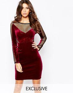 NaaNaa Velvet Mesh Sleeve Bodycon Dress With Inserts