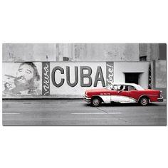 Canvas Leinwand Bild Keilrahmenbild 50x100cm Cuba Havanna Rotes Auto Fidel Castro