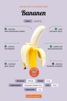 Banane Obst vegan Nutrition nutrition of banana Banana Nutrition, Vegan Nutrition, Nutrition Shakes, Healthy Eating Tips, Healthy Life, Banana Fruit, Vegetable Drinks, Eat Smart, Food Facts