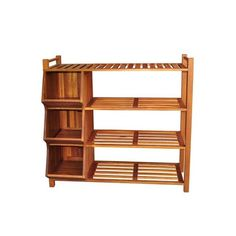 Organize your closet or entryway with this wooden shoe organizer. Constructed of acacia hardwood, this piece is weatherproof and designed to be used indoors or outdoors. With its three storage cubbies and a four-tier rack, you can store plenty of shoes. 4 Tier Shoe Rack, Diy Shoe Rack, Shoe Racks, Cubby Storage, Shoe Storage, Porch Storage, Shoe Cubby, Storage Organization, Pool Toy Storage