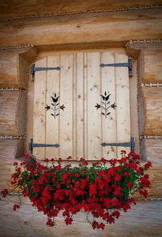 porch window shutters for winter. Log Cabin Shutters and Swiss Chalet, Alpine Chalet, Log Cabin Homes, Log Cabins, Window Boxes, Cabins In The Woods, Flower Boxes, Windows And Doors, Porch Windows