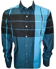 House of Lords Teal Blue Plaid Shirt $79