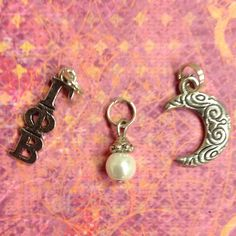 Gamma Phi Beta Sorority Charm set - mascot crescent moon charm, lavaliere, & pearl dangle by AnnPedenJewelry on Etsy