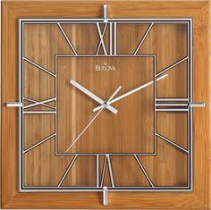 $58.50 and $13.19 shipping Bulova STUDIO 12″ Square Wall Clock, C4645 #Bulova #Wall