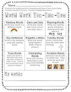 Classroom Freebies Too: Spelling/Word Choice Menus