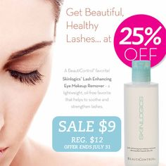 Skinlogics® Lash Enhancing Eye Makeup Remover is 25% off through 7/31/13! Only $9! #BeautiControl