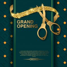 Grand opening vector background Premium Vector | Free Vector #Freepik #vector #freeribbon #freebusiness #freegold #freeinvitation