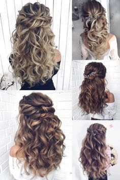 Long half up half down wedding hairstyles from mpobedinskaya wedding weddinghairstyles hairstyles hair 453034043767982331 Half Up Half Down Hair Prom, Wedding Hairstyles Half Up Half Down, Wedding Hair Down, Wedding Hairstyles For Long Hair, Wedding Hair And Makeup, Wedding Updo, Bride Hairstyles, Down Hairstyles, Indian Hairstyles